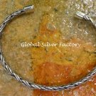 Sterling Silver 5mm Braided Design Cuff Bangle Bracelet SBB-430-KA