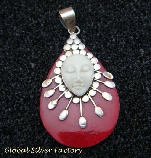 925 Sterling Silver Moon Face & Coral Pendant GDP-1182-KT