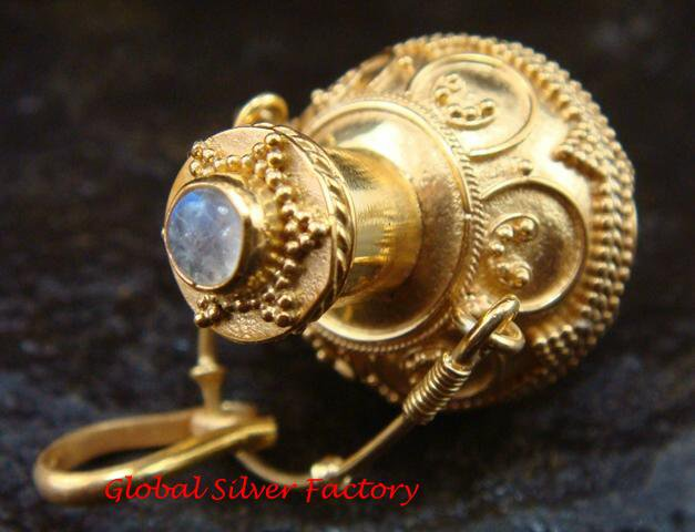 Sterling Silver & 22kt Gold Plated Cremation/Perfume Pendant w/Gem GPP-105-KT