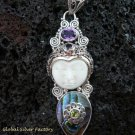 925 Silver Paua Shell & Mix Gems Goddess Pendant GDP-1004-PS