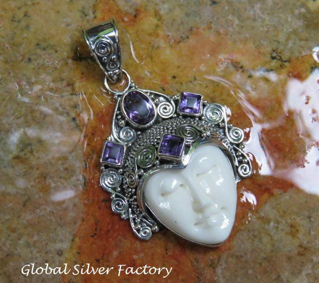 Sterling Silver and Amethyst Goddess Pendant GDP-1283-KT
