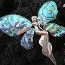 XL Silver & Paua Shell Angel Brooch Pendant BC-117-KT