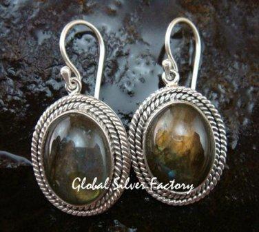 Labradorite Earrings w Braided Sterling Silver Design ER-665-KT
