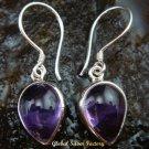 Sterling Silver Pear Amethyst Cabochon Earrings ER-581-KT