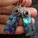 925 Silver Paua Shell Earrings w/ Gem ER-612-KT