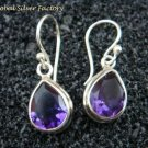 Sterling Silver Teardrop Amethyst Earrings ER-685-KT