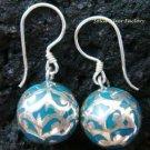 925 Silver Filigree Blue Chime Ball Earrings CBE-104-KA