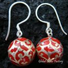 925 Silver Red Chime Ball Earrings CBE-113-KA