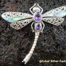 Silver Shell Amethyst Dragonfly Pendant Brooch BC-110-PS