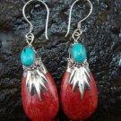 Sterling Silver Genuine Coral & Gemstone Earrings ER-412-KT