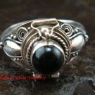 Bali Sterling Silver Round Black Onyx Cut Poison/Keepsake Locket Ring LR-643-KT