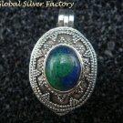 Sterling Silver & Chrysocolla Keepsake Locket Pendant LP-219-KA