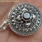 Sterling Silver Bali Round Keepsake Locket Pendant w/Gem LP-214-IKP