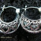Sterling Silver Heart Design Hoop Earrings SE-150-KT