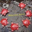 : Sterling Silver & 6 Turtle Red Coral Bracelet SBB-369-KT