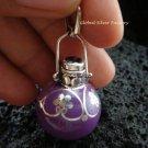 925 Silver Garnet Filigree Purple Chime Ball Pendant CH-194-KT
