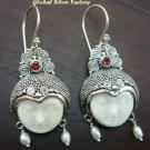 Silver Pearl Garnet Goddess Earrings GDE-543-PS