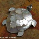 Silver and White Shell Turtle Brooch BC-186-KT