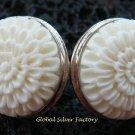 925 Silver Carved Flower Design Earrings ER-511-KA