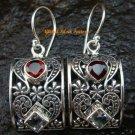 Delicate Garnet and Blue Topaz Sterling Silver Earrings ER-591-KT