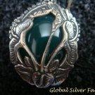 Sterling Silver & Green Agate Carved Flower Earrings ER-738-KA