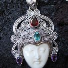 Solid 925 Silver Multi Gems Goddess Pendant GDP-421-PS