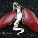 Large 925 Silver Fairy Angel corral Pendant Brooch BC-176-PS