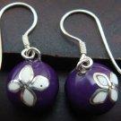 Silver White Flower Purple Chime Ball Earrings CBE-123-KT