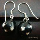 Silver White Polka Dots Black Chime Ball Earrings CBE-126-KT