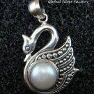 Sterling Silver & Pearl Swan Pendant SP-689-NY