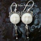 Sterling Silver Carved Ox Bone & Smokey Quartz Earrings GDE-1170-NY