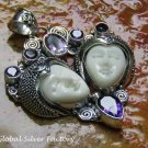 Amethyst and Carved Bone Two Faced Goddess Pendant GDP-1297-PS