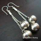 Silver Long Dangle Chime Ball Earrings CBE-130-KA