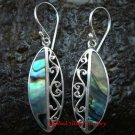 Sterling Silver Bali Ornate Paua Shell Earrings ER-619-KT
