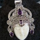 Solid 925 Silver Four Amethsyt Goddess Pendant GDP-405-PS
