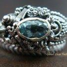 Sterling Silver & Blue Topaz Snake Ring RI-216-KA