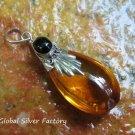 Silver Onyx Synthetic Amber Teardrop pendant SJ-226-KA