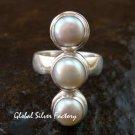Sterling Silver Triple Freshwater Pearl Bali Handmade Ring RI-392-KT