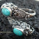 925 Silver Turquoise Double Head Snake Ring RI-272-KT