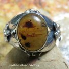 Large Sterling Silver Flower Design Ring w Genuin Amber RI-657-NY