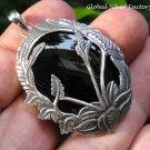 Hand Carved Tree Design Sterling Silver Large Black Onyx Pendant SP-823-KA