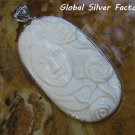 Sterling Silver Lady Cameo and Flowers Pendant BP-199-PS