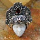 Adjustable Sterling Silver & Garnet Goddess Ring GDR-1307-PS