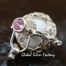 Silver 15mm Harmony Ball/Pregnancy Ball Pendant w/Pink Zircon HB-351-KT