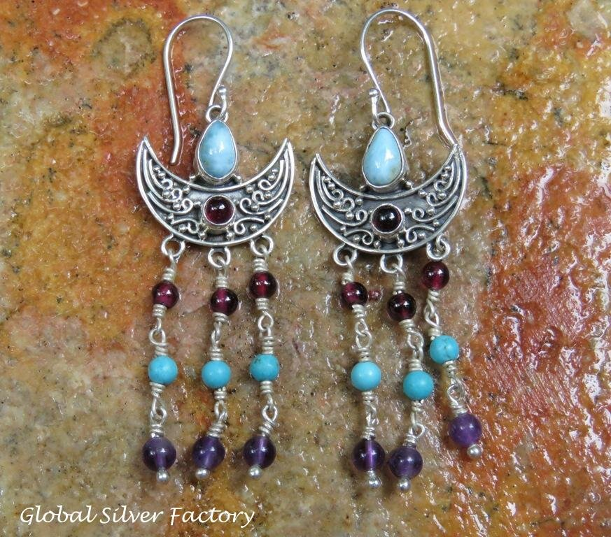 Sterling Silver American Indian Beaded Style Dangle Earrings ER-837-NY