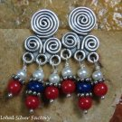 Sterling Silver & Beaded American Indian Style Dangle Earrings ER-838-NY