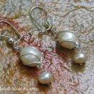 Petite Sterling Silver Wrap Wire Pearl Earrings ER-843-KA