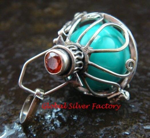 925 Silver Harmony Ball/Pregnancy Ball Pendant w/Gem HB-347-KA