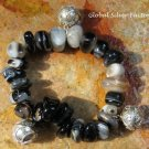 Sterling Silver & Agate Stones with 3 Chime Ball Bracelet CH-375-KT