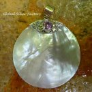 Large Sterling Silver Amethyst & Shell Round Pendant SP-781-KA